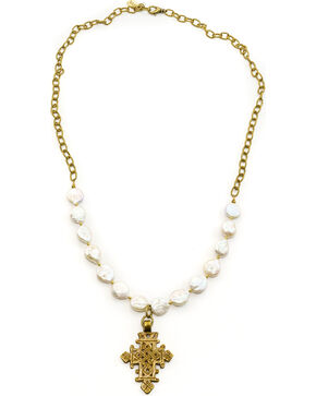 Julio Designs Doña Fortuna Wallflower Pearl Necklace, Pearl, hi-res