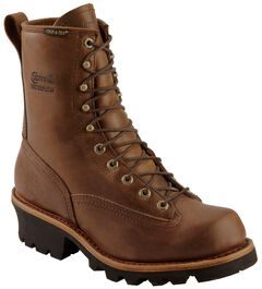 "Chippewa Lace-Up Waterproof 8"" Logger Boots - Steel Toe, , hi-res"