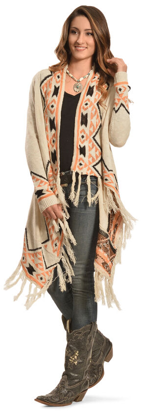 Petrol Women's Cream Aztec Wrap, Cream, hi-res