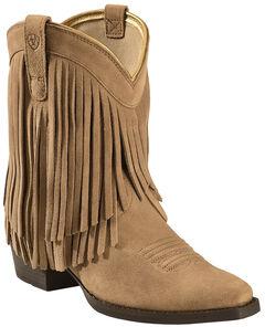 Ariat Girls' Gold Rush Rustic Brown Fringe Cowgirl Boots - Snip Toe, , hi-res
