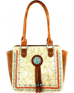Montana West Beige Concho Collection Tote Bag, , hi-res