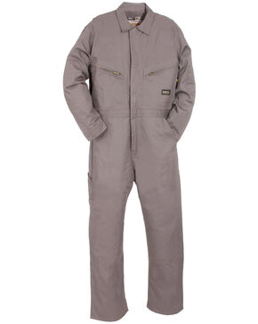 Berne Grey Flame Resistant Deluxe Coveralls - Big (56R - 60R), Grey, hi-res