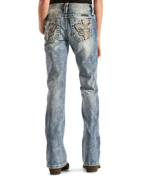 Miss Me Girls' Embroidered Fleur De Lis Pocket Jeans - Boot Cut , Denim, hi-res