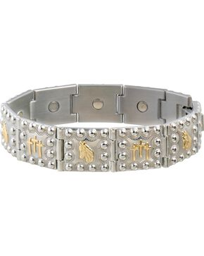 Sabona Men's Horse Head & Crosses Duet Magnetic Bracelet, Two Tone, hi-res
