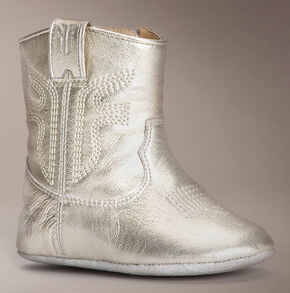 Frye Infant Girls' Zipper Rodeo Metallic Bootie , Gold, hi-res