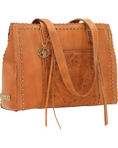 American West Women's Flower Child Tooled Leather Tote Bag, , hi-res