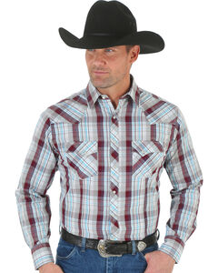 Wrangler Men's White & Rust Plaid Fashion Snap Shirt, , hi-res