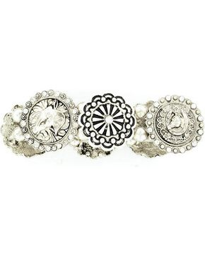 Blazin Roxx Fancy Concho Stretch Bracelet, Silver, hi-res