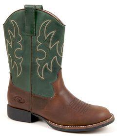 Roper Boys' Green & Brown Cowboy Boots, , hi-res