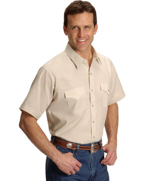 Ely Solid Classic Western Shirt - Big/Tall - Custom Fit, Neck Sizing, Beige/khaki, hi-res