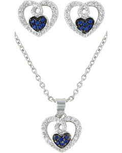 Montana Silversmiths Curlicued Cerulean Heart Jewelry Set, , hi-res