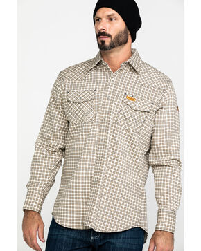 Wrangler Khaki and White Plaid Flame Resistant Western Work Shirt, Khaki, hi-res