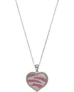 Pink Zebra Heart necklace, , hi-res