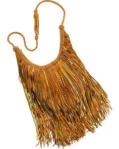 Kobler Leather Tan Bead and Fringe Gypsy Bag , , hi-res