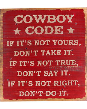 BB Ranch Cowboy Code Wall Decor, Red, hi-res