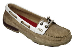 Twisted X  Women's Tan and White Driving Mocs, , hi-res