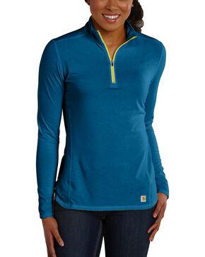 Carhartt Women's Force Performance Quarter-Zip Shirt, Blue, hi-res