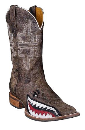 Tin Haul Gnarly Shark Cowboy Boots - Square Toe, Brn Bomber, hi-res