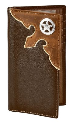 Nocona Leather Overlay Star Concho Wallet Checkbook, , hi-res