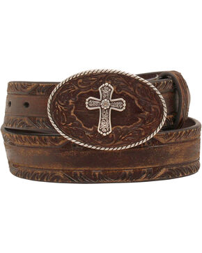 Nocona Women's Cross Buckle Leather Belt, Brown, hi-res