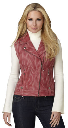 Cripple Creek Women's Distressed Red Studded Leather Moto Vest, , hi-res