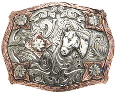"AndWest Vintage ""Stanton"" Two-Tone Horse Head Buckle, , hi-res"