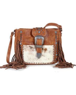 Shyanne Women's Fur and Fringe Crossbody Bag, Brown, hi-res