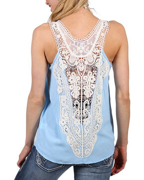 Shyanne Women's Criss Cross and Lace Tank, Light/pastel Blue, hi-res