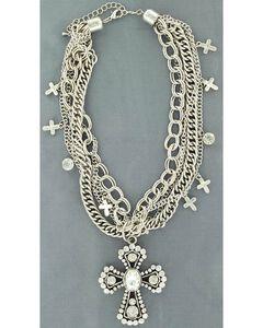 Blazin Roxx Multi Chain Cross Necklace, , hi-res