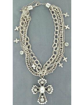 Blazin Roxx Multi Chain Cross Necklace, Silver, hi-res