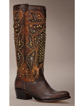 Frye Women's Deborah Deco Tall Cowgirl Boots - Round Toe, Dark Brown, hi-res