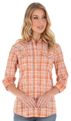 Wrangler Women's Long Sleeve Orange Plaid Whipstitch 2 Pocket Shirt, Orange, hi-res