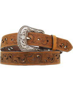 Ariat Paisley Design Cutout Leather Belt, , hi-res