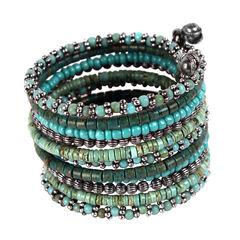 Treska Turquoise 11 Row Beaded Coil Cuff Bracelet, , hi-res