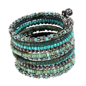 Treska Turquoise 11 Row Beaded Coil Cuff Bracelet, Turquoise, hi-res