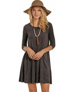 Rock & Roll Cowgirl Women's Dark Grey Micro Suede Swing Dress , , hi-res