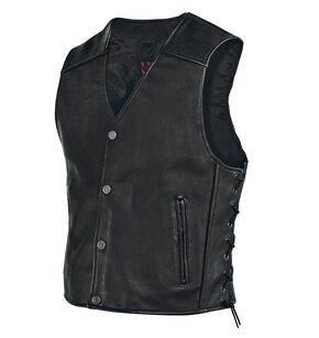 Milwaukee Motorcycle Side Lace Leather Vest - XL, Black, hi-res
