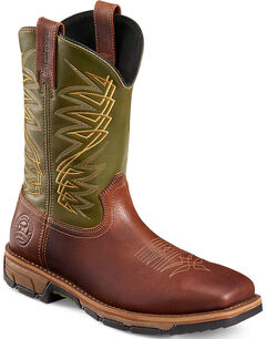 Red Wing Irish Setter Men's Green Marshall Work Boots - Steel Toe , , hi-res