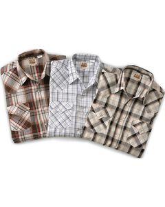 Ely Assorted Plaid or Stripe Long Sleeve Western Shirt, Plaid, hi-res