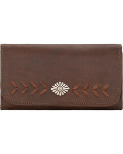 American West Mohave Canyon Ladies' Chestnut Brown Tri-Fold Wallet, , hi-res
