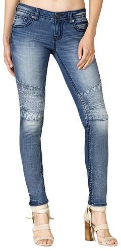 Miss Me Moto Embroidered Floral Skinny Jeans, Blue, hi-res