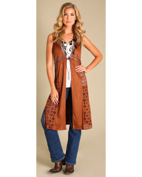 Wrangler Women's Faux Suede Laser Cut Solid Duster, Brown, hi-res