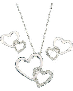 Montana Silversmiths Double Heart Jewelry Set, , hi-res