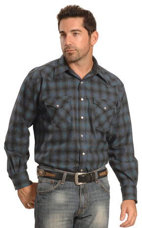 Pendleton Men's Blue Plaid Snap-Front Western Canyon Shirt , Blue, hi-res