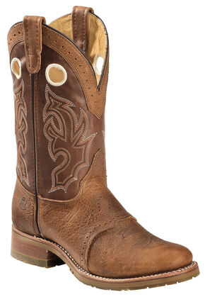 Double H Men's Rust Domestic Bison Collard ICE Roper Boots - Round Toe , Rust, hi-res