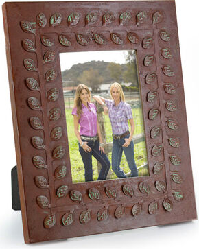 BB Ranch Rustic Leaf Bordered Picture Frame, Rust Copper, hi-res