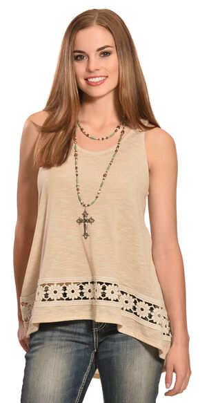 Jody of California Women's Crochet Tank Top, Natural, hi-res