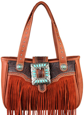 Montana West Trinity Ranch Belt Buckle Handbag with Fringe, Brown, hi-res