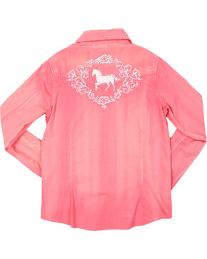 Shyanne Girls' Horse Embroidered Long Sleeve Shirt, Coral, hi-res