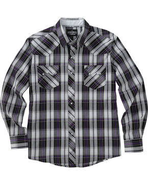 Garth Brooks Sevens by Cinch Purple and Grey Plaid Western Shirt , Multi, hi-res